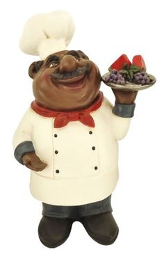 African American Fat Chef Kitchen Bistro Cooking Holding Fruit Statue D64247