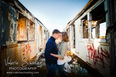 """Engagement photos at an old abandoned rail car - - """"Like"""" our studio on Facebook! - (c) Valerie Schooling Photography, www.valerieschooling.com - available for travel worldwide"""