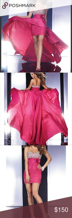 🎀PANOPLY Slim Taffeta Prom Dress 🎀 Panoply slim taffeta prom/wedding/special events Dress with removable over skirt. Sweetheart Fuchsia color with crystals detailing/high low. Perfect to attract attention 👀 👏 PromGirl Dresses High Low