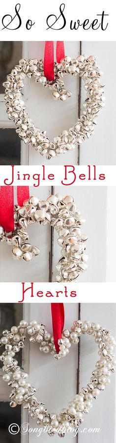 DIY TUTOIRAL...Homemade Christmas ornament. These jingle bells hearts are fun, easy and quick to make. I go to the dollar store and buy packs of 9 large bells for $1.00 each and spray paint them with looking glass spray and have the hearts all over the home. You can do a rustic theme and do a faux rust finish on them...Paint them to your Christmas Theme.