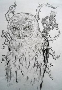 'Owl Superstition' pencil drawing - Artwork by Megan Humphries.