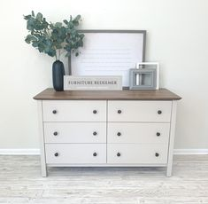 Aug 2019 - Farmhouse style white dresser finished in a custom mixed white and top stained in Varathane Briarsmoke White Washed Furniture, White Bedroom Furniture, Farmhouse Furniture, Bedroom Decor, Bedroom Ideas, Diy Dresser Makeover, Furniture Makeover, White Painted Dressers, Stained Dresser