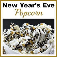 This New Year's Eve popcorn is an easy (and yummy) party dessert! The combo of crunchy popcorn, sweet chocolate, and pretty sprinkles makes a great treat!