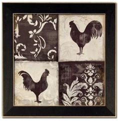 French Country Kitchen Canisters   Details about Set/2 Roosters French Country Kitchen Decor Art Framed