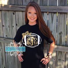 Hey, I found this really awesome Etsy listing at https://www.etsy.com/listing/199210054/short-sleeve-monogram-football-comfy-tee