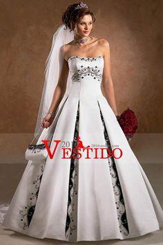 Bicolor vestidos de novia de una línea de tren de satén sin tirantes Tribunal