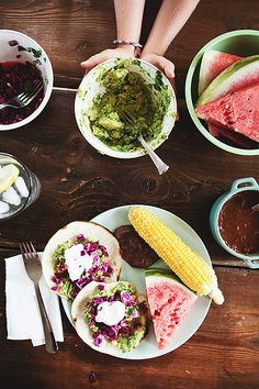 Fish Tacos, Corn on the Cob and Watermelon