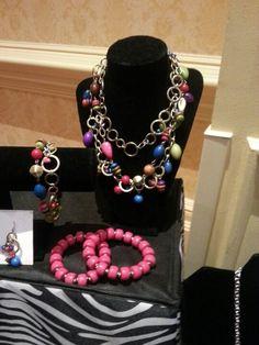 "Premier Designs 2013   ""Parade"" necklace, earrings & bracelet  ""Lipstick"" bracelet"