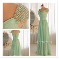 Real Beautiful Sage Chiffon Elegant Gown V-neck Floor-length Sheath Column Backless Short Sleeve Prom Dresses/Evening Dresses with Beaded