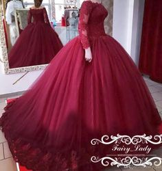 2017 Sheer Lace 3D-Floral Appliques Quinceanera Dresses Girls Sweet 16 Puffy Ball Gown Long Sleeves Off Shoulder Fashion Prom Dress Formal