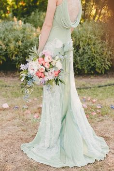 Not crazy about the mint color, but the style...mint wedding dress - Claire Pettibone wedding dresses