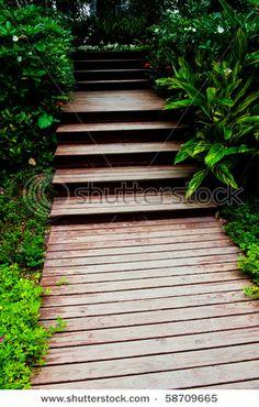 wooden garden stairs