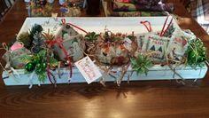 Another Handmade Candle Box with Stitcheries, Pumpkins, & Wooden Stenciled Snowmen