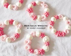 Candy Bracelet Edible Marshmellow Meringue Wreath - Pink sweet chamber macaron French macarons hot chocolate spoon hot chocolate stick party by SweetChamber on Etsy