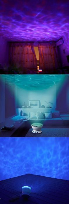 Bliss Out with the Ocean Wave Relaxation Projector. Use to transform it into a place of peace and calm. Maybe Not in the bedroom for us, probably in the kids space or somewhere in man cave but he loves and misses the ocean and it's his home too! My New Room, My Room, Dorm Room, Future House, My House, Rivera Maison, Mermaid Room, Massage Room, Baby Massage