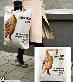 Gaia: Animals Torture - Agency: Duval Guillaume, Brussels, Belgium - bag - bagvertisement - bagvertising - advertising - guerrilla - creative - animal crualty