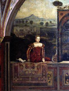 Atlante dell'arte italiana Bonvicino Alessandro,  Moretto da Brescia Dame di casa Martinengo, 1543 Detail. Note the long Brescian partlet/scarf pointing down to the skirt