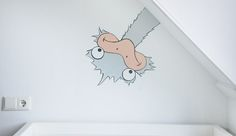 Grappige kinderkamer struisvogel wandschildering in moderne 'muursticker stijl'. Ontwerp en muurschildering door BIM Muurschildering. Kan naar wens aangepast worden.   funny ostrich nursery wall decal