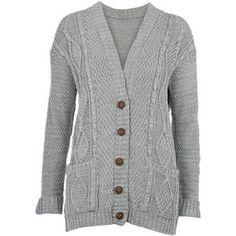 Grey Chunky Knit Boyfriend Cardigan