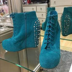 Turquoise Spiked Wedges Worn less then 5 times Glaze Shoes Wedges