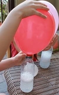 No helium needed to fill balloons for parties. How to: just vinegar and baking soda! I NEED TO REMEMBER THIS! this is important since helium is not a renewable source and is in such short supply.