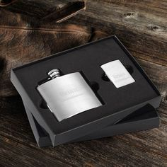 Get two-gifts-in-one with this classy duo. A personalized compact brushed finished flask allows him to carry his favorite beverage discreetly and the elegant ma