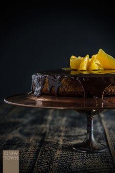 "Gluten Free Orange Chocolate and Honey Coconut Cake ~ via this blog, ""Chew Town""."
