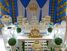 Aluguel Decoração Chá de Bebê e Infantil Príncipe Urso Azul Dourado - http://www.adornardecoracoesfestas.com.br/aluguel-decoracao-principe-urso-azul-dourado/