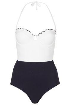 Topshop Cream Scallop Texture Swimsuit in Blue (cream)