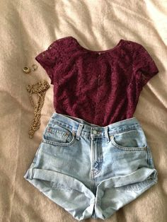 Red lace high waisted shorts so cute for summer love the colors I need this outfit