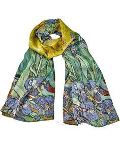 Van Gogh Irises art scarf in beautiful silk, part of our Van Gogh scarf gifts for art lovers collection.
