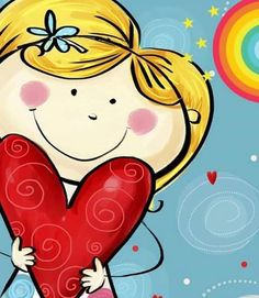 I Love You Postcard.Cute Girl With The Big Heart. Stock Illustration - Illustration of color, childish: 42161493 Love Backgrounds, Happy Birthday Images, Cross Stitch Kits, Heart Art, Whimsical Art, Painting For Kids, Graphic Design Illustration, Doodle Art, Cute Cartoon
