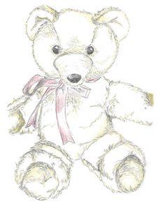 """Teddy Nursery Art, Illustration Print, Teddy Bear Sketch, Hand Drawn Illustration, A4 8x10"""", Yellow and Grey, Pencil Sketch on Etsy, $26.00"""