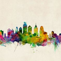 Philadelphia Skyline Art Print by Michael Tompsett Kansas City Skyline, City Skyline Art, Skyline Tattoo, Philadelphia Skyline, Watercolor City, Skyline Painting, Art Prints For Sale, Fine Art America, Visit Philly