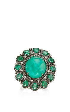 Blackened gold emerald ring by Nina Runsdorf