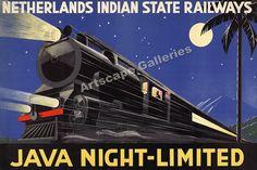 1930's Java Night-Limited Railroad Travel Poster 24x36 #Vintage