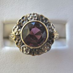 Sweet Antique 10k Amethyst Flowers/Hearts Ring