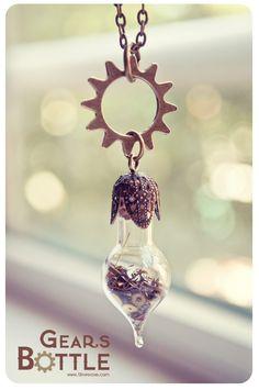 Geared Steampunk Bottle Pendant Necklaces