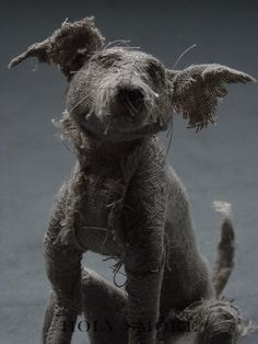 Stunning linen dog's sculptures by Holy Smoke UK-based artist Helen Thompson