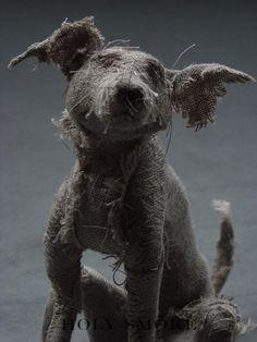 Stunning linen dog's sculptures by Holy Smoke UK-based artist Helen Thompson