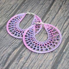 Crochet purple pink hoops earrings with beads £8.79