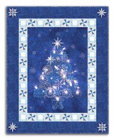 Lighted Starlight Christmas Tree Quilt Kit Starry Night