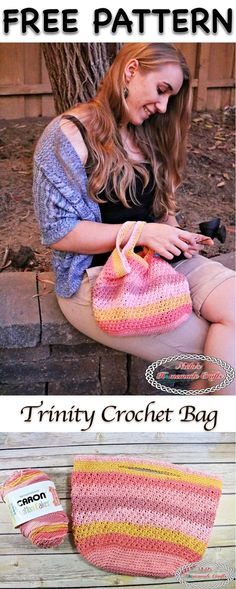 Trinity Crochet Bag made with Caron Cotton Cake - Free Crochet Pattern by Nicki's Homemade Crafts