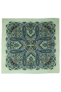"""Manufactured by traditional methods in India, our bandanas made from luxurious, 100% cotton and their vibrant, intricate printing is soft to the touch. Whether you wear one as a fashionable accessory or use a set as decorative wall hangings, our bandanas bring a touch of panache to any situation. Please Note: Our bandanas are printed on the front side only    Measures: 22"""" x 22""""   Green Paisley Bandana by A Little Bit Hippy. Accessories - Scarves & Wraps Roanoke, Virginia"""