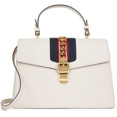 Gucci Sylvie medium leather tote (4,465 BAM) ❤ liked on Polyvore featuring bags, handbags, tote bags, leather tote, white leather tote bag, handbags totes, white tote bag and leather tote bags