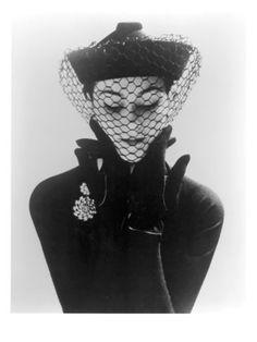 Anne Gunning in an Erik felt and Velvet Mandarin Hat with Veil Photo by John French, 1950