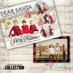 dear santa naughty or nice plaid christmas printable photo christmas cards digital designs from magic by - Naughty Or Nice Christmas Card