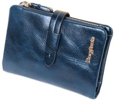 Borgasets Women's Wallet 100% Leather Zipper Coin Purse Blue. * A fashion leather goods by Borgasets. Made of soft leather, and checking out. Small but powerful, is the greatness of the rare artifacts. * Material: 100% Genuine Leather. * Measures:5.1 x 3.5 x 1.18 inches;. * Function:8 card slots,1 zipper pocket,2 bill pockets,1 photo window.