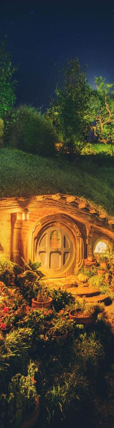 A hobbit hole at night - photo from #treyratcliff Trey Ratcliff at http://www.StuckInCustoms.com