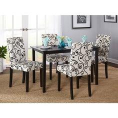 Simple Living Sophia 5 Piece Parson Dining Set (Dining Set), Black, Size 5 Piece  Sets
